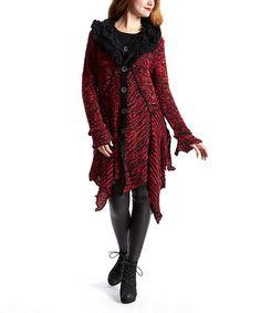 Love this Black & Red Ruffle Silk-Wool Blend Duster - Women on #zulily! #zulilyfinds