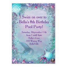 Shop Mermaid Party Invitation created by BellaLuElla. Personalize it with photos & text or purchase as is! Going Away Party Invitations, Mermaid Party Invitations, Pool Party Birthday Invitations, Create Your Own Invitations, Zazzle Invitations, Mermaid Parties, Anniversary Parties, Party Supplies, Mermaid Birthday