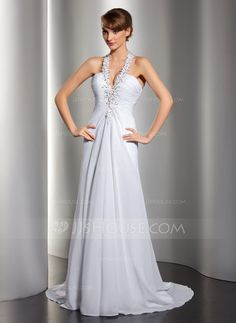 A-Line/Princess Halter Sweep Train Chiffon Wedding Dress With Ruffle Beading Appliques Lace Sequins (002012134) - JJsHouse