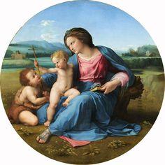Raphael (Raffaello Sanzio), 1483-1520, Italian, The Alba Madonna, с.1510. Oil on panel transferred to canvas diameter 94.5 cm. National Gallery of Art, Washington D.C. High Renaissance.