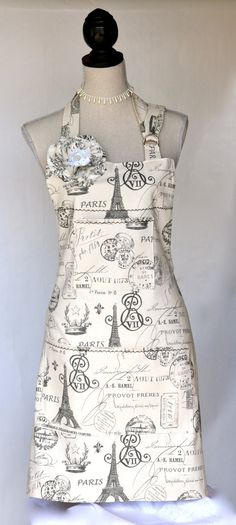 Paris Script Print Womens Full Apron French by OliviabyDesign, $34.95