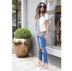 Listrado e jeans