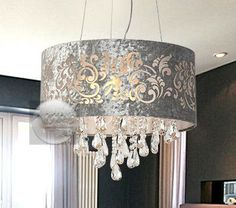 Silver-DRUM-SHADE-CRYSTAL-CEILING-CHANDELIER-PENDANT-LIGHT-FIXTURE-LIGHTING-LAMP
