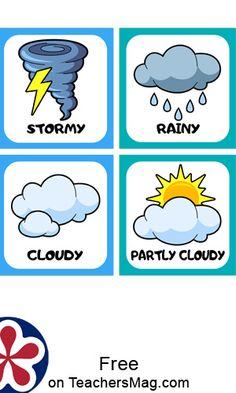 This chart can be printed out and all the different kinds of weather can be talked about with your class! Preschool Weather Chart, Weather Charts, Weather Activities Preschool, Preschool Charts, Preschool Schedule, Preschool Printables, Seasons Chart, Weather For Kids, Rainbow Drawing