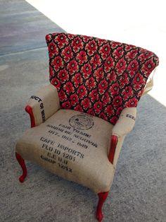 Burlap coffee sack chair