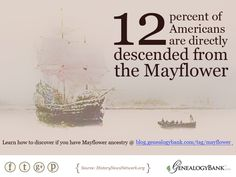 Did you know? 12% of Americans are direct descendants of the Mayflower pilgrims. Learn more facts about Mayflower ancestry and learn how to trace your genealogy at the GenealogyBank blog: http://blog.genealogybank.com/tag/mayflower  #mayflower #genealogy