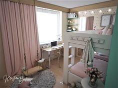 Návrh interiéru bytu Romantika v akcii, pohľad do detskej izby od dverí Vanity, Curtains, Mirror, Furniture, Home Decor, Nostalgia, Dressing Tables, Powder Room, Blinds