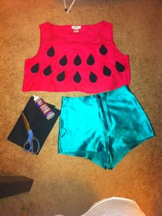 Spent less than $5.00 making this! I already owned the AA disco shorts, so I just purchased a pink top ($2.50), fabric glue ($1.50), and black felt ($0.25). Cut the felt into tear drop shapes for the seeds and glue on to the top. VOILA! CUTEST WATERMELON EVER!