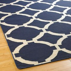 Porthole Trellis Dhurrie Rug: 3 Colors This fresh design, inspired by coastal calls and lattice love, makes a strong statement in Denim, Navy, or Gray with cream design. Coastal Rugs, Coastal Living, Basement Inspiration, Dhurrie Rugs, Nautical Home, Nautical Nursery, Navy Rug, Design Repeats, Grey Carpet