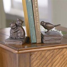 Kittens and Bird Bookends