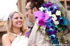 Blue & Purple Orchid Wedding Bouquet