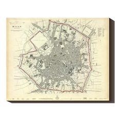 Milan 1832 40x32 Map, $164, now featured on Fab.