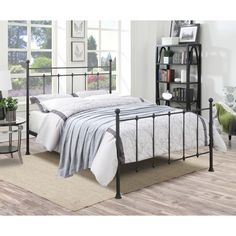 Black Metal Queen-size Bed | Overstock.com Shopping - The Best Deals on Beds