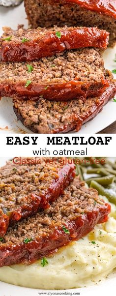 Easy Meatloaf Recipe - Meatloaf comes together quick and easy with this gluten-free recipe! Oatmeal works just as good in - Easy Meatloaf Recipe - Meatloaf comes together quick and easy with this gluten-free recipe! Oatmeal works just as good in - Classic Meatloaf Recipe, Good Meatloaf Recipe, Meat Loaf Recipe Easy, Best Meatloaf, Meatloaf Recipe No Bread Crumbs, Basic Meatloaf Recipe With Oatmeal, Easy Healthy Meatloaf Recipe, Meatloaf With Oatmeal, Gluten Free Meatloaf