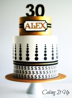Geometric Money Themed 30th Birthday Cake www.facebook.com/cakingitup