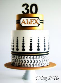 Geometric Money Themed 30th Birthday Cake www.facebook.com/cakingitup