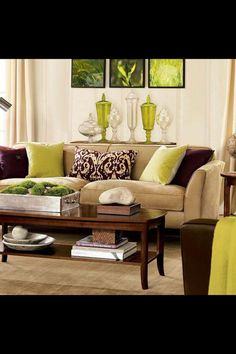Living Room Color Green interior color schemes, yellow-green spring decorating | living