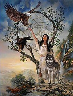Native American Woman with her favorite Forest Animals Native American Wolf, Native American Paintings, Native American Wisdom, Native American Pictures, Native American Beauty, American Indian Art, Native American History, American Indians, Native Indian
