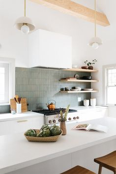 This Pasadena Kitchen Is Now Open and Airy Thanks to One Structural Change - white waterfall island//green tile backsplash - backsplash ideas farmhouse Green Tile Backsplash, Modern Kitchen Backsplash, Kitchen Cabinet Design, Scandinavian Kitchen Backsplash, Kitchen Backplash, Soapstone Kitchen, Kitchen Cabinets, Kitchen Shelves, Kitchen Countertops
