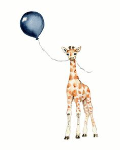 giraffe watercolor print navy nursery art by Marysflowergarden