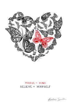 Mauria te Pono - Believe in Yourself New Zealand Art, Nz Art, A3 Size, Kiwiana, Cross Stitch Heart, Prints For Sale, Artsy Fartsy, A4, Advent Calendar