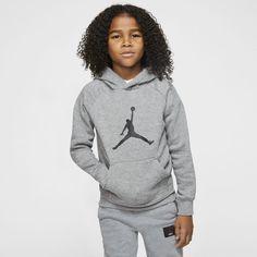 Jordan Jumpman Big Kids' (boys') Hoodie In Grey Big Kids, Kids Boys, Boys Hoodies, Sweatshirts, Jordan Outfits, Kids Jordans, Heather Black, Nike, Fleece Fabric