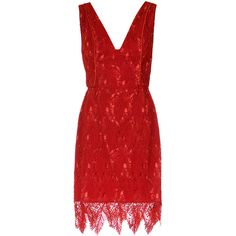 Tufi Duek lace shift dress (14,195 MXN) ❤ liked on Polyvore featuring dresses, unavailable, red shift dress, sleeveless lace dress, red floral dress, lace dress and v neck shift dress