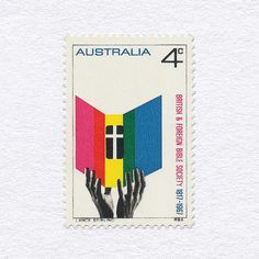 British & Foreign Bible Society 150th Anniversary (4¢). Australia, 1967. Design: Lance Stirling. #mnh #graphilately