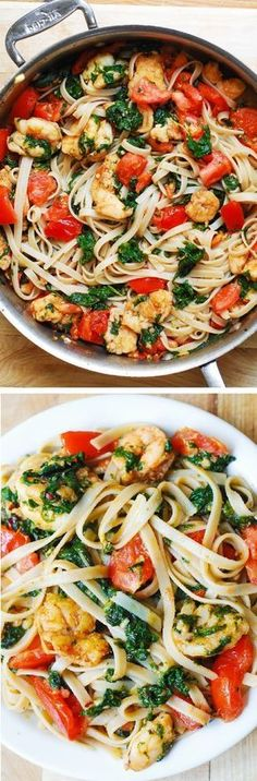 Shrimp pasta with fresh tomatoes and spinach in a garlic butter sauce. An Italia… Shrimp pasta with fresh tomatoes and spinach in a garlic butter sauce. An Italian comfort food spiced just right! Seafood Dishes, Pasta Dishes, Seafood Recipes, Cooking Recipes, Healthy Recipes, Spinach Recipes, Seafood Pasta, Shrimp Soup, Pasta Meals