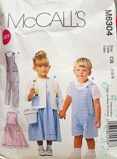 Dungarees McCalls Toddlers Sewing Pattern 6304 Dresses Shirts /& Cardiga...