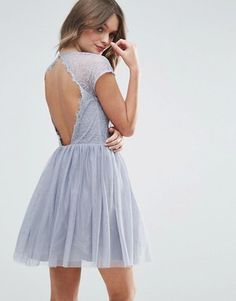 Buy ASOS Embellished Strap Mini Tulle Dress at ASOS. Get the latest trends with ASOS now. Skater Dresses Uk, Mini Prom Dresses, Grey Prom Dress, Short Lace Dress, Lace Bridesmaid Dresses, Long Sleeve Mini Dress, Short Dresses, Lace Dresses, Petite Cocktail Dresses