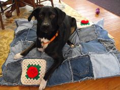 """X LARGE 45"""" x 33"""" Denim Jean Dog Pet Bed Patchwork Frayed Distressed Heavy Duty Recycled Denim dog supplies Liberty Freedom Designs Hippie by LibertyFreedomD on Etsy"""