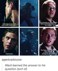 Ward learned the answer to his question--how long can you hold your breath under water?>>> TBH though, Ward deserved it Dc Movies, Marvel Movies, Series Movies, Tv Series, Marvel Dc Comics, Marvel Fan, Marvel Avengers, Melinda May, Marvel Show