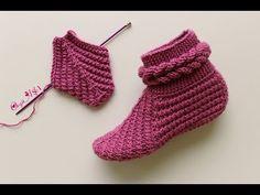 Skewered Bootie Bootie // // easy booties models (model … – The Best Ideas Knitted Booties, Crochet Boots, Knitted Slippers, Crochet Ripple, Crochet Baby, Knit Crochet, Knitting Socks, Free Knitting, Baby Knitting