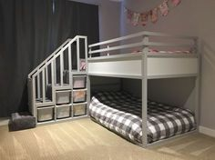 The top bunk of the Kura bed is fairly low compared to true bunk beds and the bottom bunk would be on the floor which is ideal for our 18 month old.