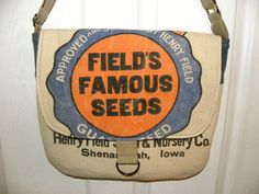 Henry Field's Famous seeds sack upcycled by LoriesBags on Etsy
