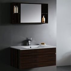 This Vigo floating vanity cabinet has clean lines for thoroughly modern look that won't go out of style.