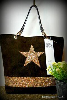 Cabas moyen demi-cuir demi-simili avec étoile et bande de paillettes