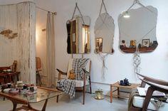 Mirrors re-purposed with macrame hangers / Atelier Solarshop Antwerp Belgium