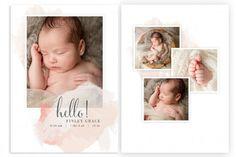 Modern Baby Birth Announcement Templates by Jamie Schultz Designs