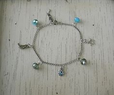 Silver Chain with Sun, Moon and Star Celestial Charms and Luster Turquoise and Luster Sage Beads - Adjustable Bracelet