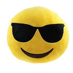 Sannysis Lovely Car Home Office Accessory Emoji Cushion Pillow Toy Gift (Sunglass Cushion)