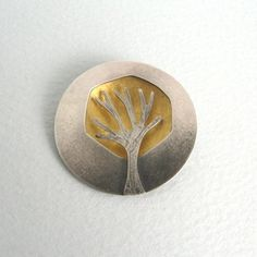 Gold dome tree brooch by Becky Crow