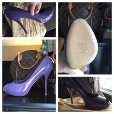 "Authentic ""Oh Really"" Louis Vuitton peep toe's  Louis Vuitton!   New! ""Oh Really!"" Patent leather peep toe pumps. Absolutely beautiful deep purple, detailed with LV engraved padlocks on each heel. Leather-lined padded insoles, 4"" heel height. Right shoe was tried on and has some scuffing/markings on bottom. Please refer to pictures. No markings anywhere else and In brand new condition. Original box, 2 dust bags & extra heel tabs are included. Date Code NL1101. Made in Italy. These are too…"