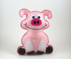 Fletcher the Pig Hand Sewing PATTERN - Make Your Own Hand Embroidered Plush Felt Stuffed Animal - PDF - Easy. $4.00, via Etsy.
