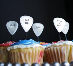 Edible guitar picks for a music themed party! Perfect to go with the Alternative collection on hoopla