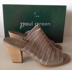 NIB! $289 PAUL GREEN Winston Smock Brushed Soft Nubuck Leather Sandals 4.5 7  #PaulGreen #Slides