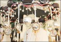 Chandelier decorated for Christmas - Boxwood Cottage ~* A Christmas review & Happy New Year 2014 *~