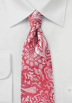 Paisley Tie in Vivid Poppy | Bows-N-Ties.com