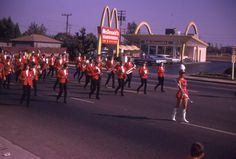 Marching Band Passing McDonald's in Rancho Cordova, CA.  1972.